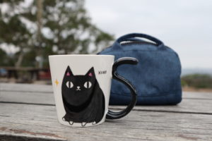 Cat Neko Sankyodai tail Mug kuro For Cat Lover